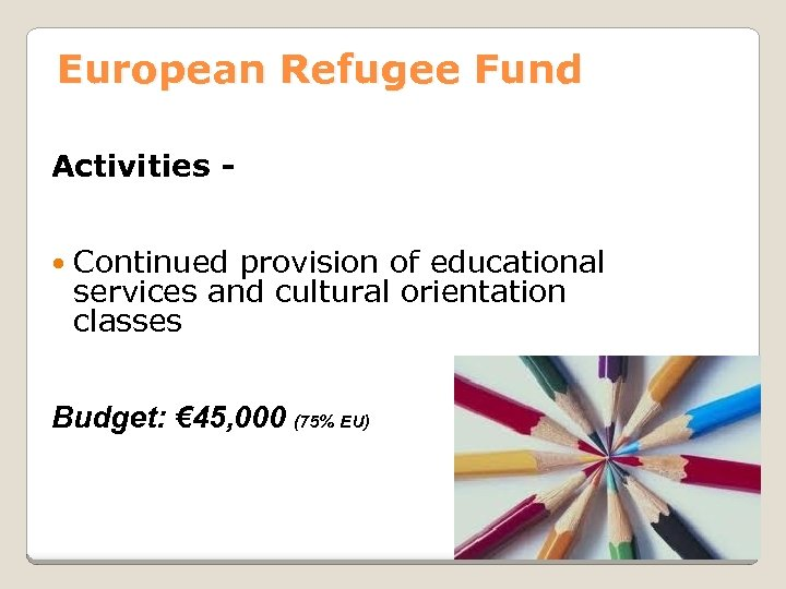 European Refugee Fund Activities Continued provision of educational services and cultural orientation classes Budget: