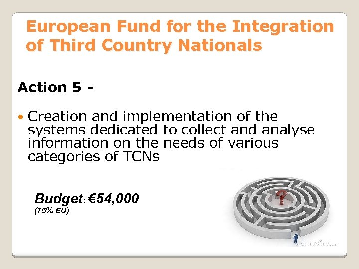 European Fund for the Integration of Third Country Nationals Action 5 Creation and implementation