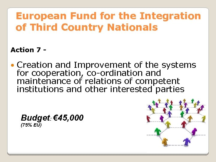 European Fund for the Integration of Third Country Nationals Action 7 - Creation and