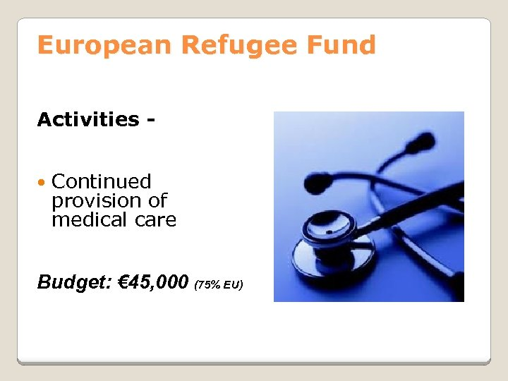 European Refugee Fund Activities Continued provision of medical care Budget: € 45, 000 (75%