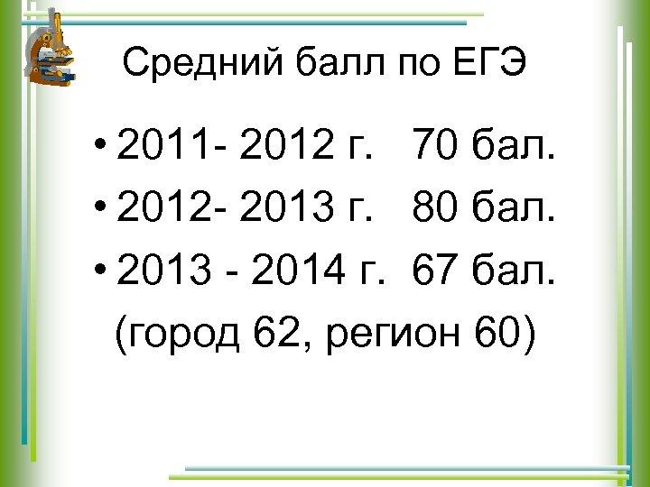 Средний балл по ЕГЭ • 2011 - 2012 г. 70 бал. • 2012 -