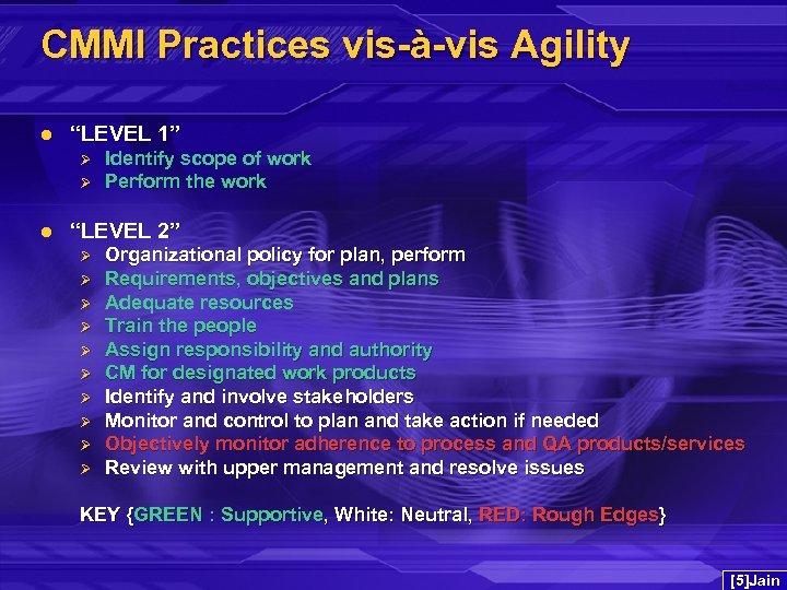 "CMMI Practices vis-à-vis Agility l ""LEVEL 1"" Ø Ø l Identify scope of work"