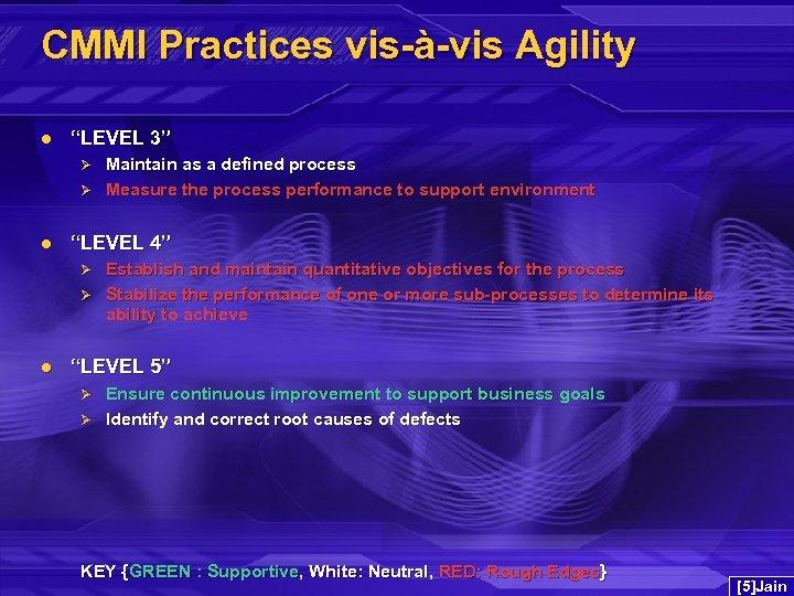 """CMMI Practices vis-à-vis Agility l """"LEVEL 3"""" Ø Ø l """"LEVEL 4"""" Ø Ø"""