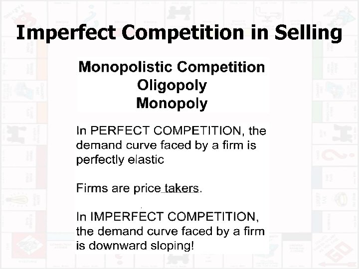 Imperfect Competition in Selling
