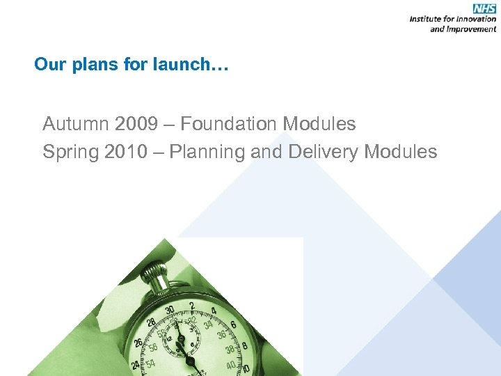 Our plans for launch… Autumn 2009 – Foundation Modules Spring 2010 – Planning and