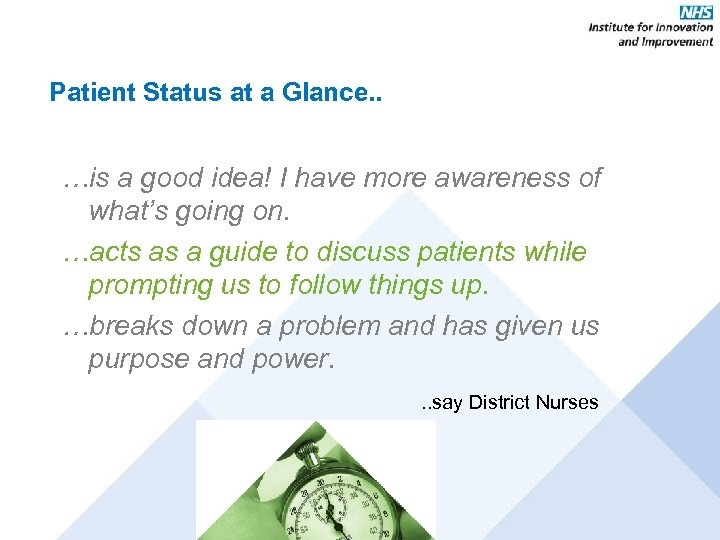 Patient Status at a Glance. . …is a good idea! I have more awareness