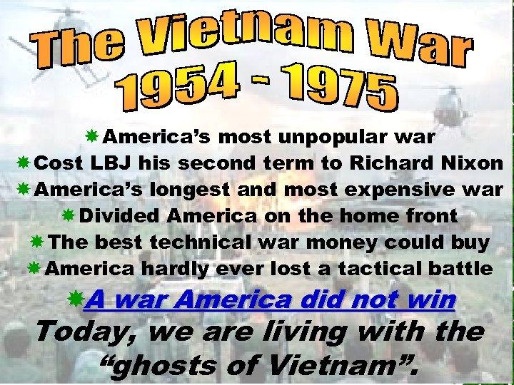 America's most unpopular war Cost LBJ his second term to Richard Nixon America's