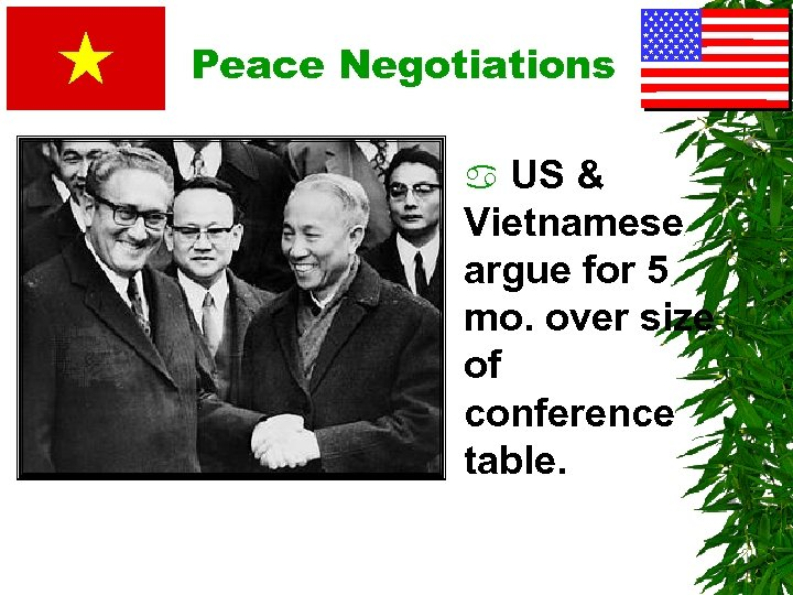 Peace Negotiations US & Vietnamese argue for 5 mo. over size of conference table.