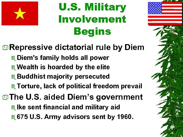 U. S. Military Involvement Begins a. Repressive dictatorial rule by Diem e Diem's family