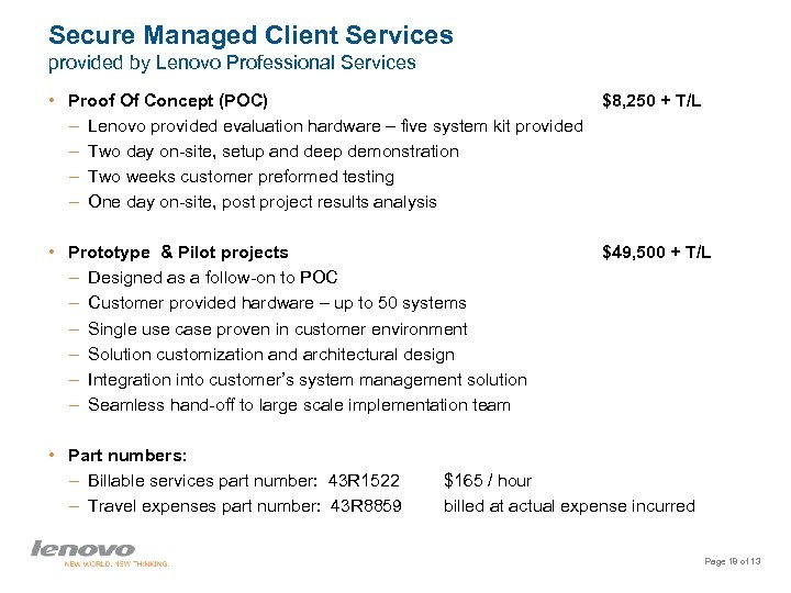 Secure Managed Client Services provided by Lenovo Professional Services • Proof Of Concept (POC)