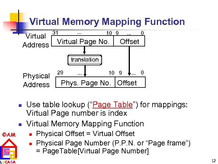 Virtual Memory Mapping Function Virtual Address . . . 31 10 9 Virtual Page