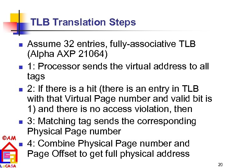 TLB Translation Steps n n AM La. CASA n Assume 32 entries, fully-associative TLB