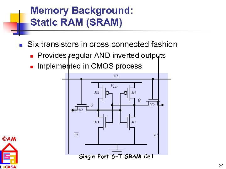 Memory Background: Static RAM (SRAM) n Six transistors in cross connected fashion n n