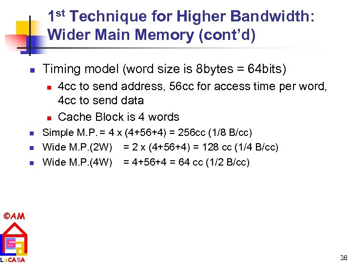 1 st Technique for Higher Bandwidth: Wider Main Memory (cont'd) n Timing model (word