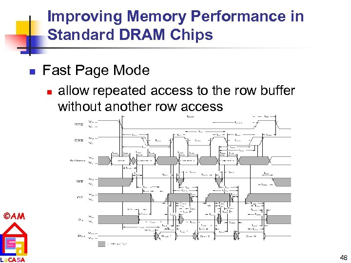 Improving Memory Performance in Standard DRAM Chips n Fast Page Mode n allow repeated