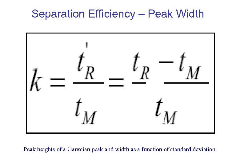 Separation Efficiency – Peak Width Peak heights of a Gaussian peak and width as