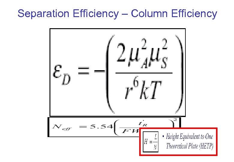 Separation Efficiency – Column Efficiency