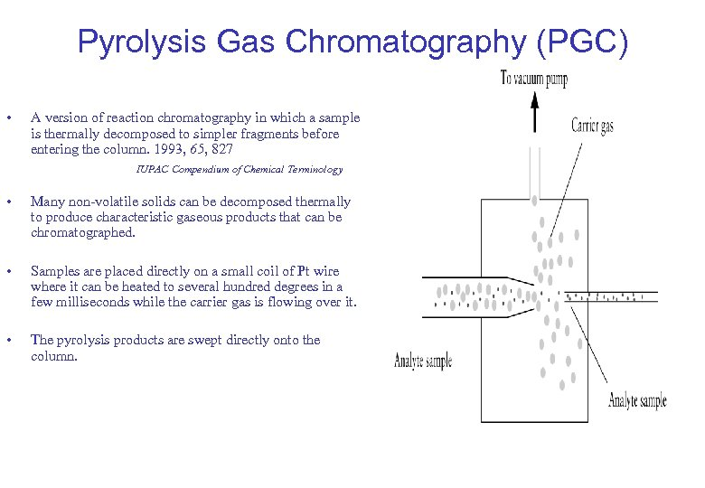 Pyrolysis Gas Chromatography (PGC) • A version of reaction chromatography in which a sample