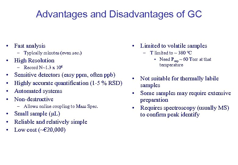 Advantages and Disadvantages of GC • Fast analysis – Typically minutes (even sec. )