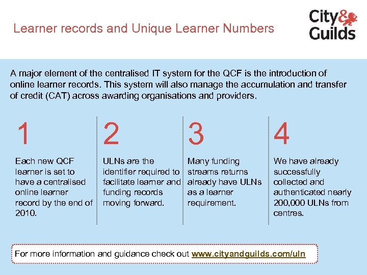 Learner records and Unique Learner Numbers A major element of the centralised IT system