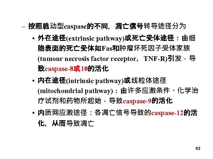 – 按照启动型caspase的不同,凋亡信号转导途径分为 • 外在途径(extrinsic pathway)或死亡受体途径:由细 胞表面的死亡受体如Fas和肿瘤坏死因子受体家族 (tumour necrosis factor receptor,TNF-R)引发,导 致caspase-8或 10的活化 • 内在途径(intrinsic