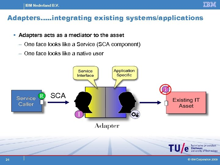 IBM Nederland B. V. Adapters…. . integrating existing systems/applications § Adapters acts as a