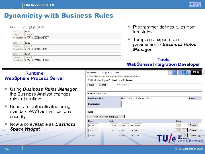 IBM Nederland B. V. Dynamicity with Business Rules § Programmer defines rules from templates