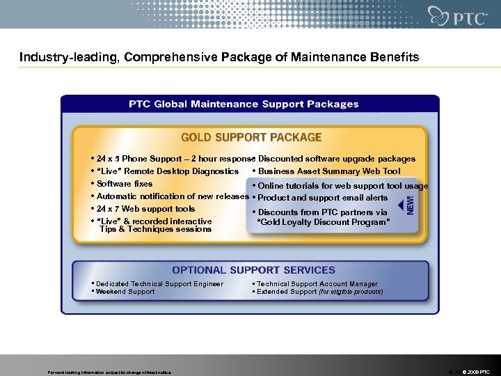 Industry-leading, Comprehensive Package of Maintenance Benefits • 24 x 5 Phone Support – 2