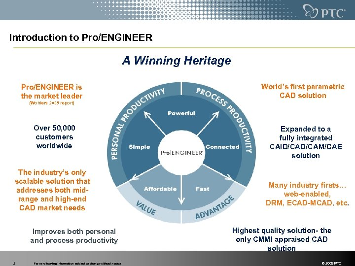 Introduction to Pro/ENGINEER A Winning Heritage Pro/ENGINEER is the market leader World's first parametric