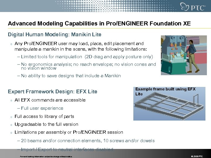 Advanced Modeling Capabilities in Pro/ENGINEER Foundation XE Digital Human Modeling: Manikin Lite Any Pro/ENGINEER