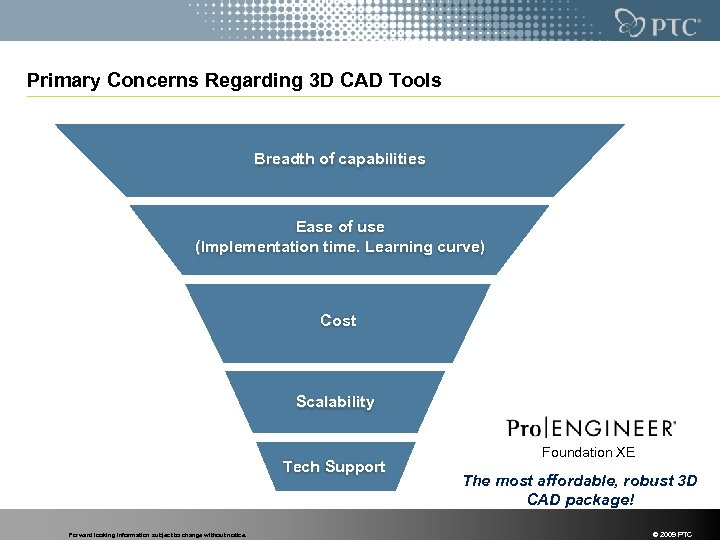 Primary Concerns Regarding 3 D CAD Tools Breadth of capabilities Ease of use (Implementation