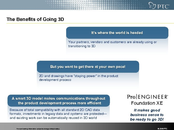 The Benefits of Going 3 D It's where the world is headed Your partners,