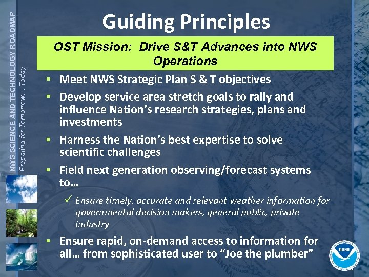 NWS SCIENCE AND TECHNOLOGY ROADMAP Preparing for Tomorrow… Today Guiding Principles OST Mission: Drive