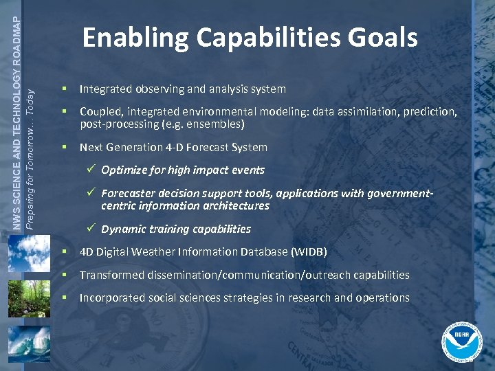 NWS SCIENCE AND TECHNOLOGY ROADMAP Preparing for Tomorrow… Today Enabling Capabilities Goals § Integrated