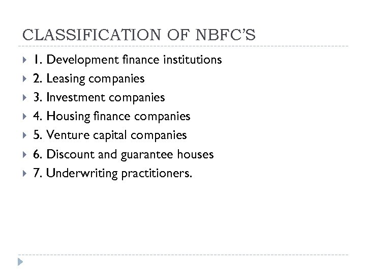 CLASSIFICATION OF NBFC'S 1. Development finance institutions 2. Leasing companies 3. Investment companies 4.