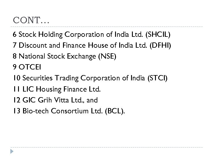 CONT… 6 Stock Holding Corporation of India Ltd. (SHCIL) 7 Discount and Finance House