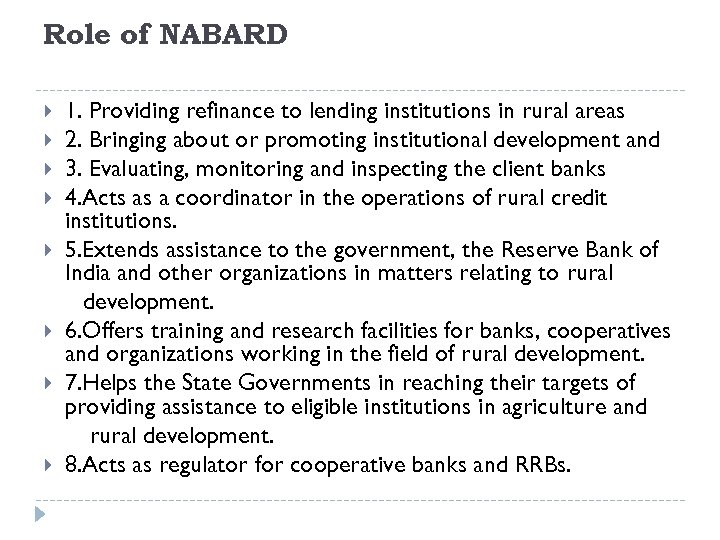 Role of NABARD 1. Providing refinance to lending institutions in rural areas 2. Bringing