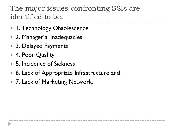 The major issues confronting SSIs are identified to be: 1. Technology Obsolescence 2. Managerial