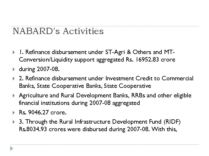 NABARD's Activities 1. Refinance disbursement under ST-Agri & Others and MTConversion/Liquidity support aggregated Rs.