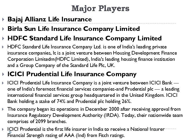 Major Players Bajaj Allianz Life Insurance Birla Sun Life Insurance Company Limited HDFC Standard