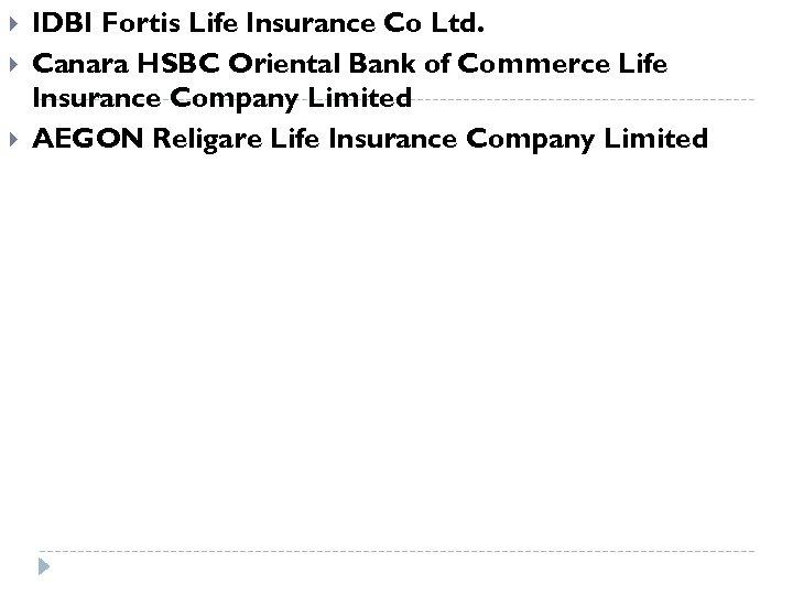 IDBI Fortis Life Insurance Co Ltd. Canara HSBC Oriental Bank of Commerce Life