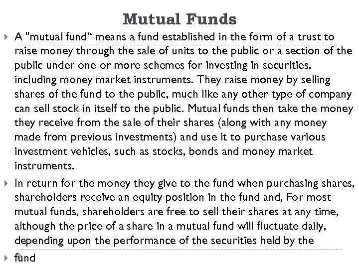 Mutual Funds A