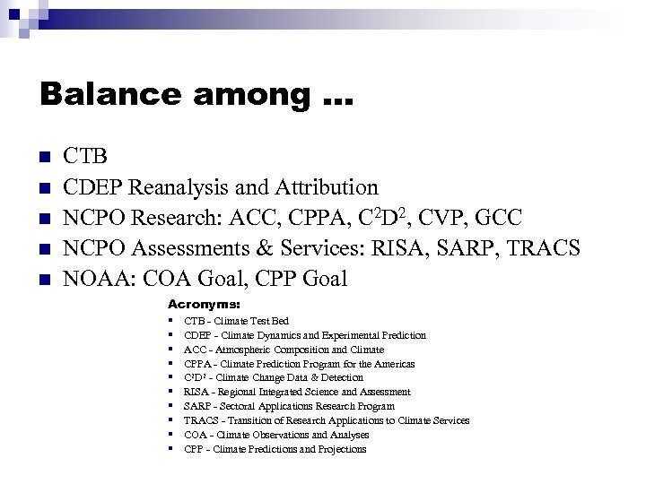 Balance among … n n n CTB CDEP Reanalysis and Attribution NCPO Research: ACC,