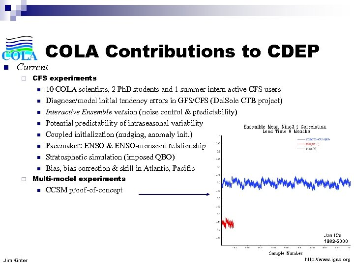 COLA Contributions to CDEP n Current ¨ CFS experiments n n n n ¨