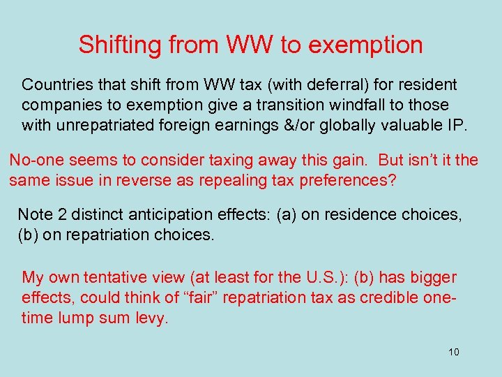 Shifting from WW to exemption Countries that shift from WW tax (with deferral) for