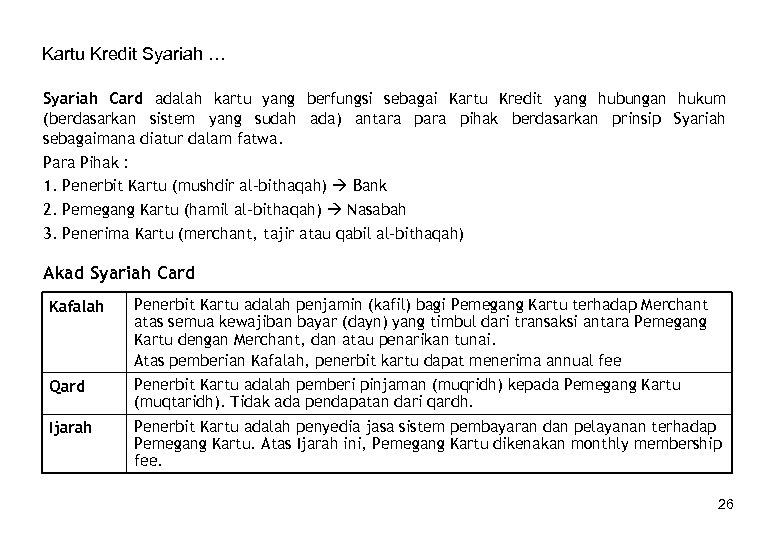 Kartu Kredit Syariah … Syariah Card adalah kartu yang berfungsi sebagai Kartu Kredit yang