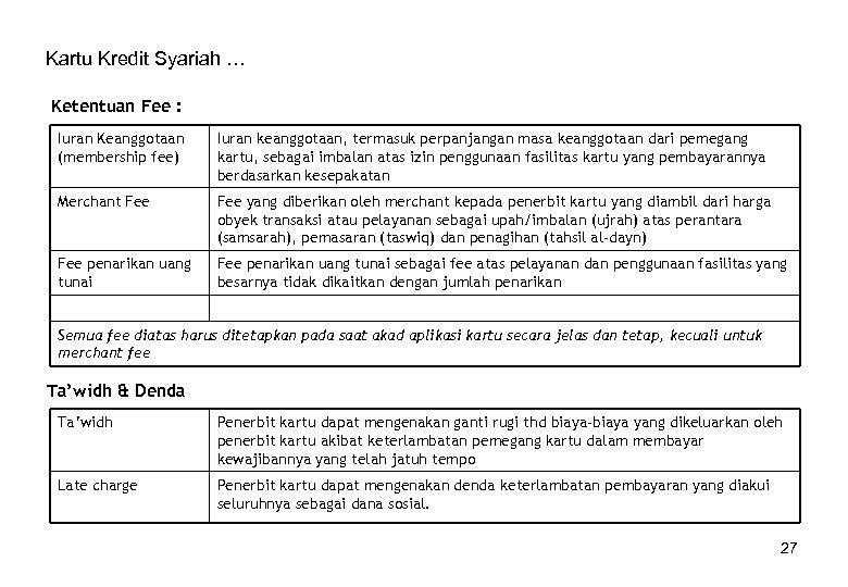 Kartu Kredit Syariah … Ketentuan Fee : Iuran Keanggotaan (membership fee) Iuran keanggotaan, termasuk