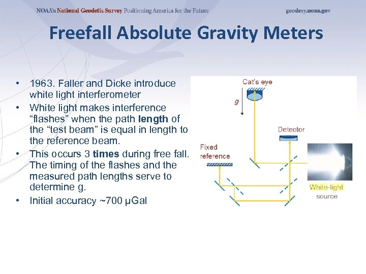 Freefall Absolute Gravity Meters • 1963. Faller and Dicke introduce white light interferometer •