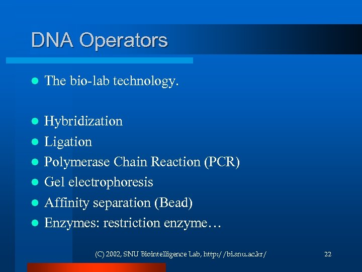 DNA Operators l The bio-lab technology. l Hybridization Ligation Polymerase Chain Reaction (PCR) Gel