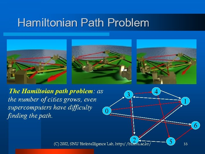 Hamiltonian Path Problem The Hamiltoian path problem: as the number of cities grows, even